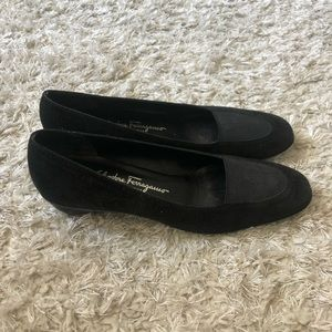 Salvatore Ferragamo Black Leather Loafers Shoes